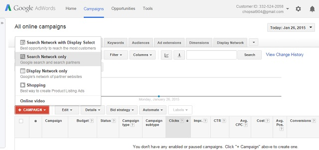 Google Adwords - create new ad camapaign
