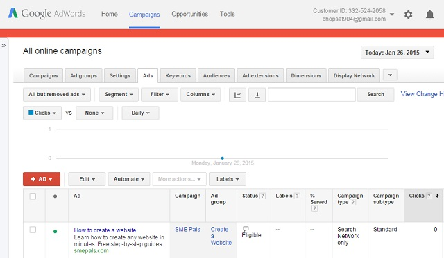 Google AdWords - Ad Campaign management interface