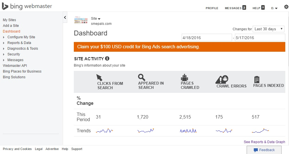 Bing webmaster console offering $100 in free search ads