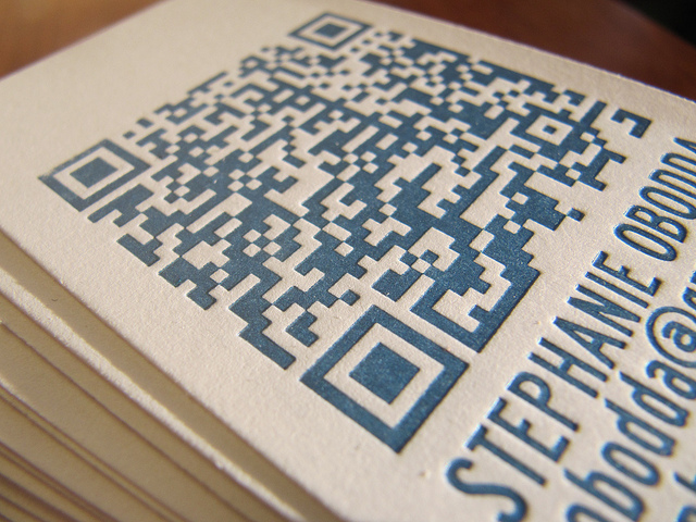 Business card with mystery QR code prize