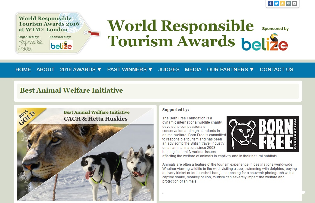CACH wins gold at the World Responsible Tourism Awards