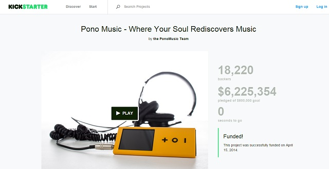 Pono music succesfully raised over $6 million in crowdfunding finance