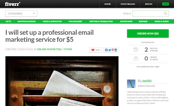 Fiverr gig offering to set up professional email marketing facilities