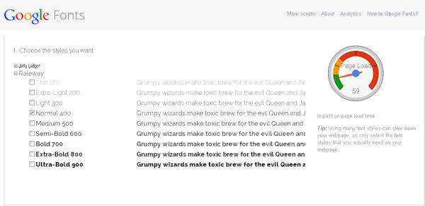 Selecting Google font styles from your collection
