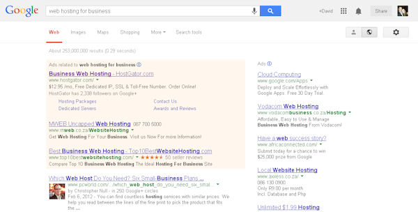 Google search results for small business Web hosting