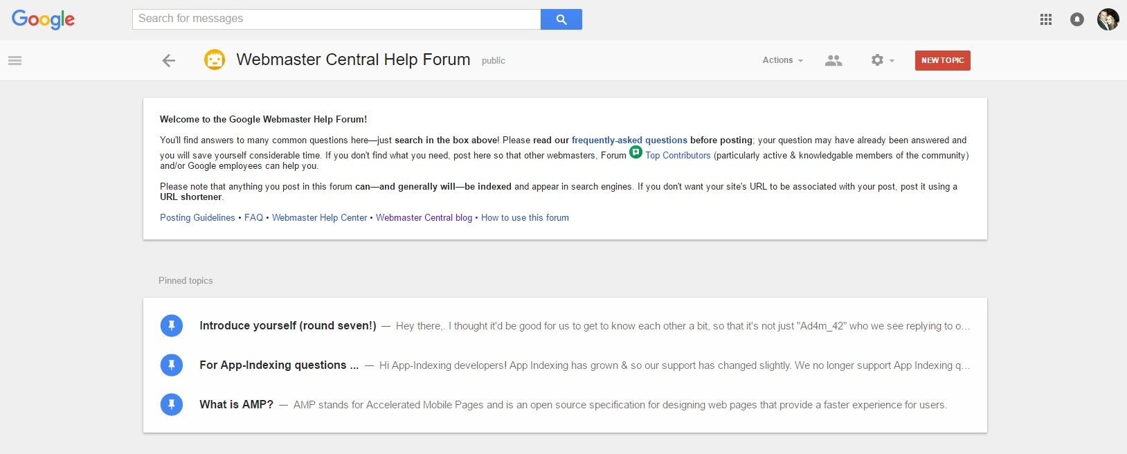 Google Webmaster Forum
