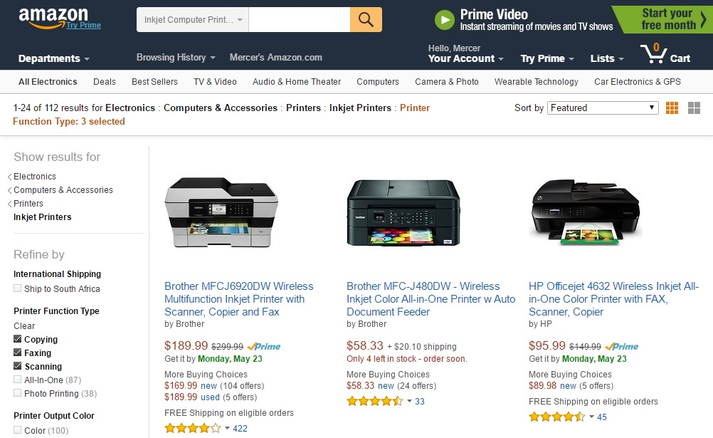 Amazon page showing deep discounts on office supplies