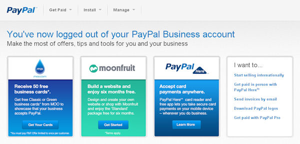 PayPal log out page using cross and upselling techniques
