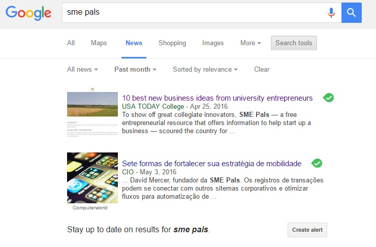 Google news showing press release article