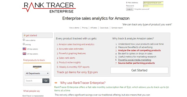 RankTracer Enterprise provides Amazon sales analytics and competitive research