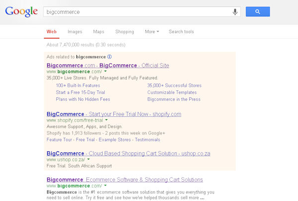 Shopify advertising in Google using Bigcommerce name