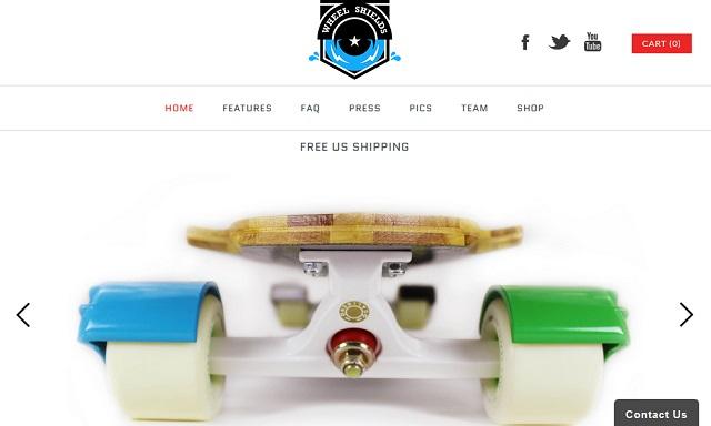 Wheel shields protect skateboard wheels and boarders